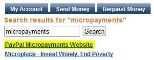 PayPal Micropayment search results