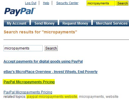 PayPal Micropayments Search Results